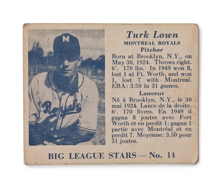 Old baseball card of Big League stars Turk Lown Montreal Royals Pitcher