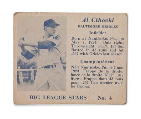 orioles: Image of Vintage baseball card with Al Cihocki profile Editorial