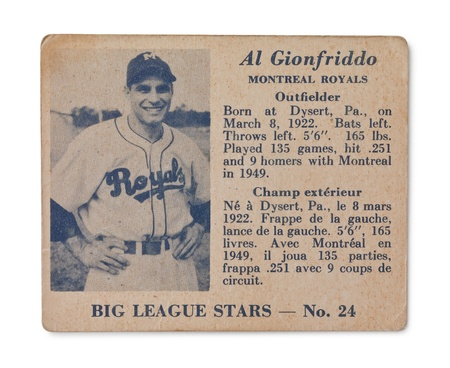 Vintage baseball card with Al Gionfriddo profile Stock Photo - 17202148