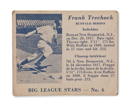 Image of Vintage baseball card with Frank trechock profile