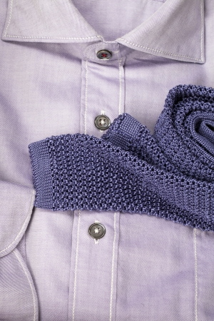Image of violet men's shirt with a scarf photo