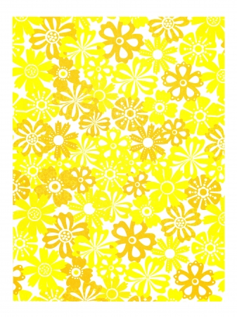 Close-up shot of a yellow folder with floral pattern on white background. Stock Photo - 17208930
