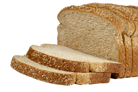 Image of a cut of loaf bread with sesame against white background photo