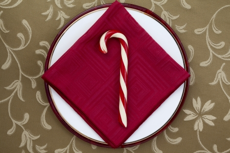 Image of candy cane with red table napkin Stock Photo - 17230655