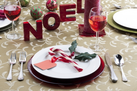 Image of christmas table setting photo