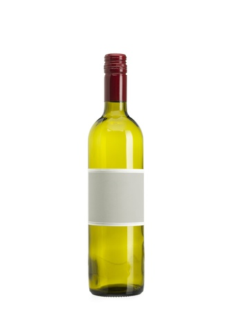 An empty white wine bottle with a blank label