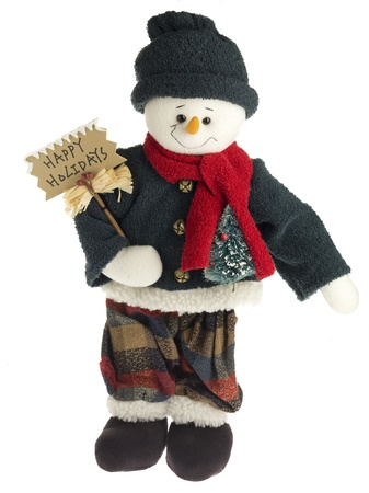 Figurine in winter clothing with billboard over white background. Stock Photo - 17226280