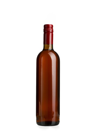 An empty bottle of rose wine on a white background