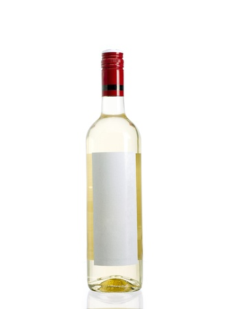 Transparent bottle of white wine with a blank label. Banco de Imagens