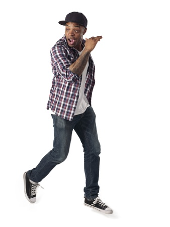 checkered polo shirt: Dancing black man on the white background Stock Photo
