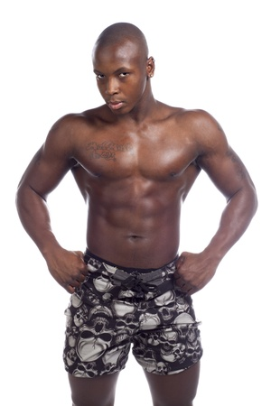 bodybuilding boy: Portrait of black man with muscular body isolated in white background Stock Photo