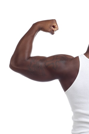 Male body builder showing his biceps on the left arm Stock Photo - 17243893