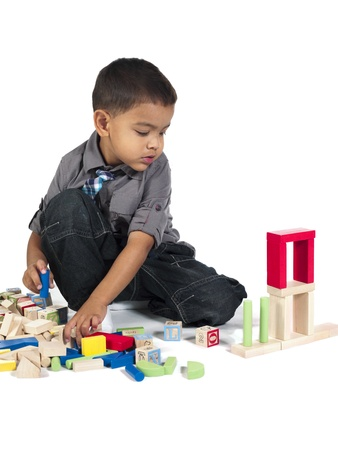 about age: image of a Asian boy playing with building blocks, Model: Kai Wall