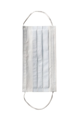Close-up shot of a surgical mask isolated on white.
