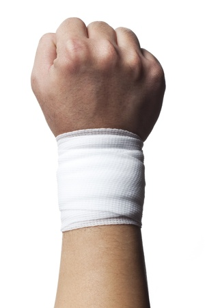 firstaid: Close-up image of a white bandage on human hand isolated over white background.