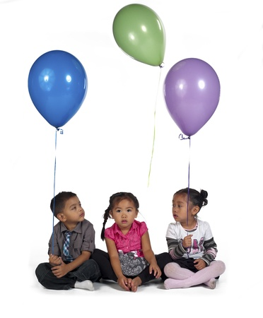 Sweet little Asian kids holding balloons lover white background, , Kai Wall, Sienna Fulay