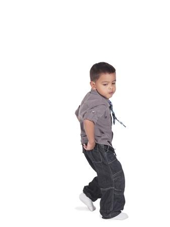 그의 놀라운 브레이크 댄스와 작은 아이의 이미지