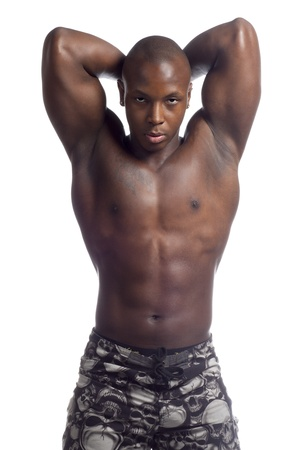 Muscular black man in a vertical image
