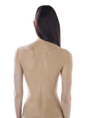 naked woman back: Portr�t eines nackten R�cken K�rper einer sexy Frau vor dem wei�en Hintergrund