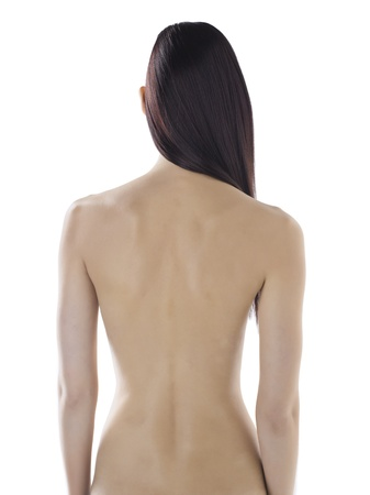 naked woman back: Portrait of a naked back body of a sexy woman against the white background Stock Photo