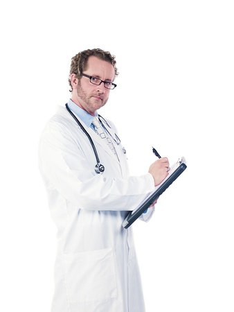 Portrait of a doctor making reports against white background, Model: Derek Gerhardt photo
