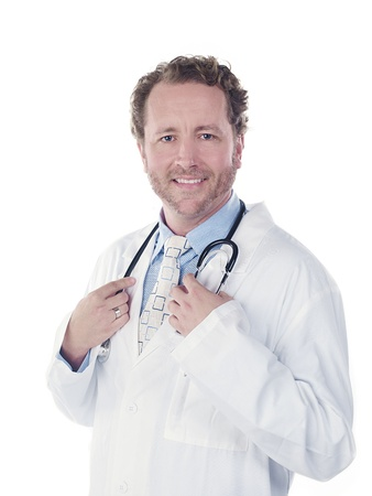 Portrait of a happy young doctor touching his stethoscope, Model: Derek Gerhardt Stock Photo - 17244339