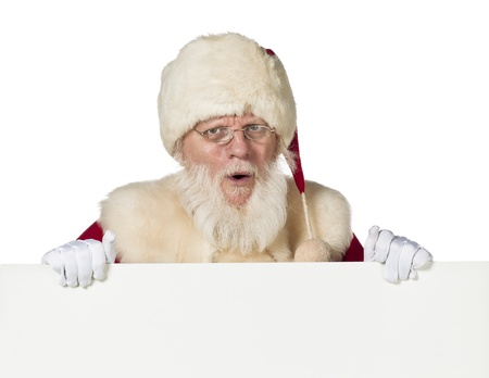 Portrait shot of Santa Claus with mouth open over white background. Model: Larry Lantz Stock Photo - 17244688