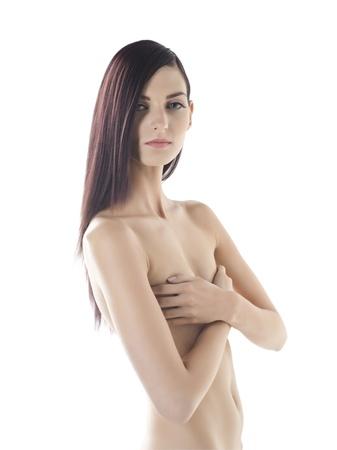jeune femme nue: Illustration de jeune femme nue couvrant sa poitrine avec les mains sur fond blanc