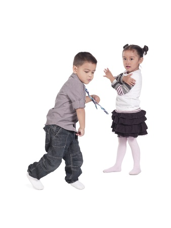 Portrait of two little cute kids on white background Stock Photo - 17244671