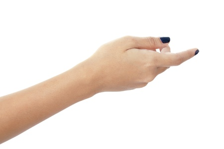 Womans hand with painted fingernails on white background, pointing with index finger