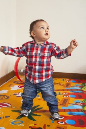 Portrait of baby boy standing while looking something Stock Photo - 17244751