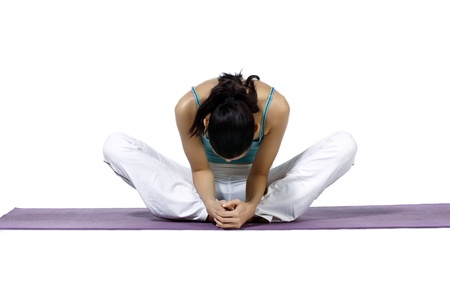 downcast: Woman on a downcast triangle position to soothe her tense muscle and control her blood pressure