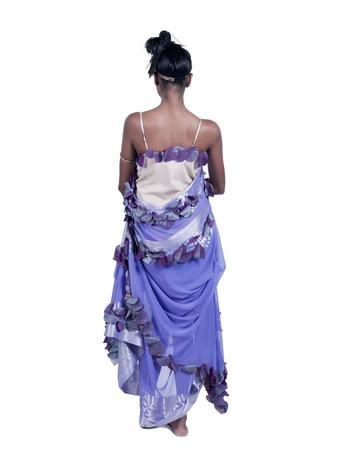 紫色のドレスの女性の背面図イメージ 写真素材