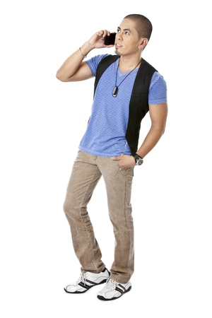 pinoy: Asian man talking on his cellular phone