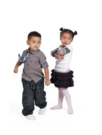 Happy children on white background,  and Kai Wall Stock Photo - 17244700