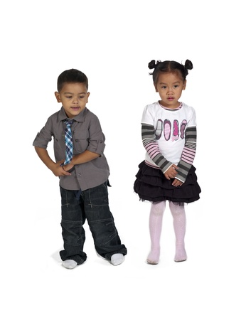 Portrait of happy kids on white background,  and Kai Wall photo