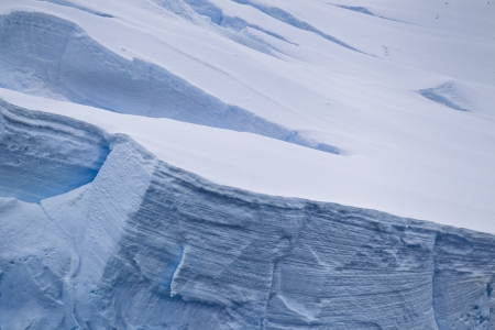 Close up image of ice glaciers in antarctic