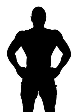silueta masculina: Ilustraci�n vectorial de cuerpo bien construido de un hombre aislado en un fondo blanco Foto de archivo