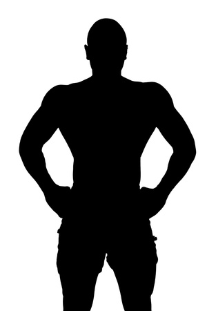 african american silhouette: Vector illustration of well built body of a man isolated on a white background