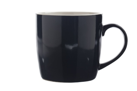 Image of a shiny black coffee mug isolated over white. photo