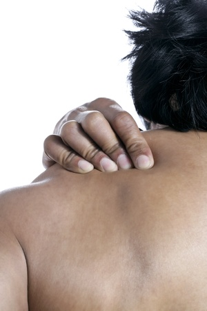 old man on a physical pressure: Close up image of shoulder pain against white background Stock Photo