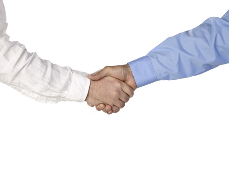 Image of business people shaking hands against the white background Stock Photo - 17251146
