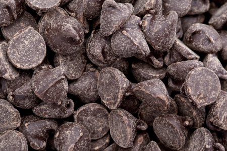 Macro shot of chocolate chips in a background image photo
