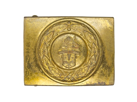 Close-up shot of golden German military belt buckle against white background. Stock Photo - 17251332