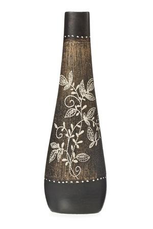 vase: Close up image of antic flower vase against white background Stock Photo