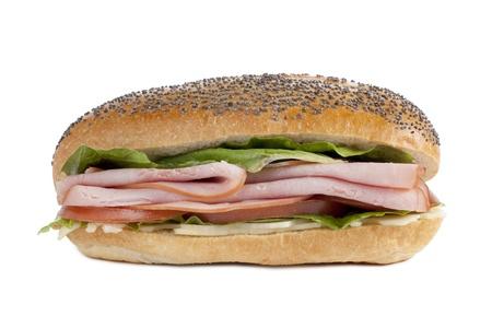 ham sandwich: Prosciutto panino appetitoso isolato in uno sfondo bianco Archivio Fotografico