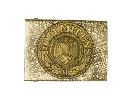 Close-up shot of a German army belt buckle with swastika and eagle sign on it. Stock Photo - 17251844