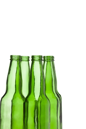 Close-up shot of green plastic bottle over white background. 版權商用圖片