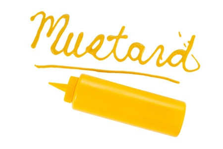 "The word ""Mustard"" written using ketchup Stock Photo - 17250021"