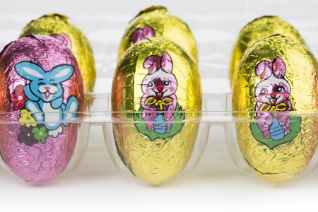 Close-up image of colorful Easter eggs displayed on white background. Stock Photo - 17251441